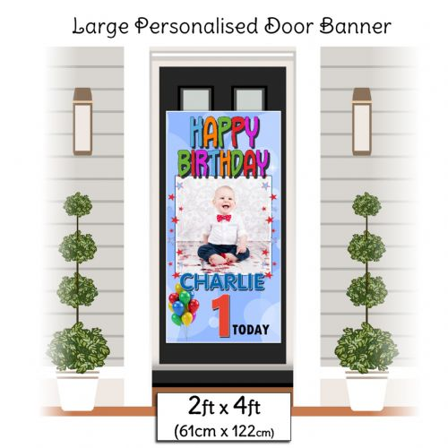 Personalised Happy Birthday Door PHOTO Banner Poster ~ Blue N30 Any Age
